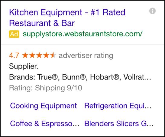 Kitchen equipment google ad