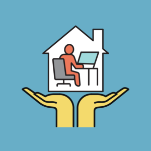 An illustration of hands holding a house with person working from home